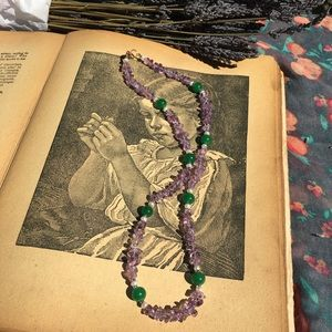 Amethyst, Jade and Pearl Necklace